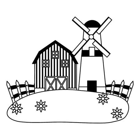 barn windmill house fence farm vector illustration Ilustrace