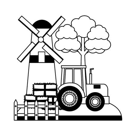 barn windmill tractor bales of hay tree vector illustration Ilustração