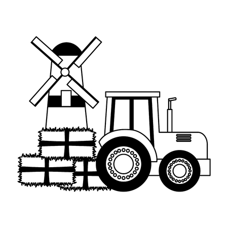 tractor windmill bales of hay farm vector illustration  イラスト・ベクター素材