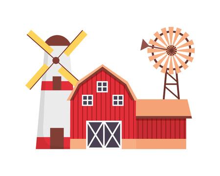 barn windmill house rural farm vector illustration