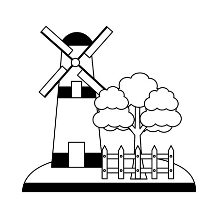 windmill tree and fence farm vector illustration