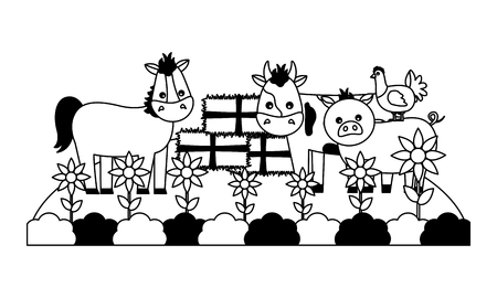 horse cow pig hen bales of hay garden farm vector illustration Stock Illustratie