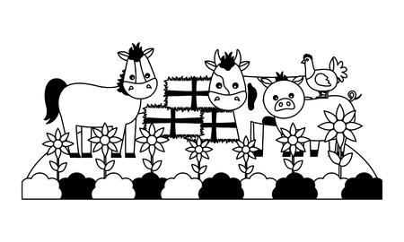 horse cow pig hen bales of hay garden farm vector illustration Illustration