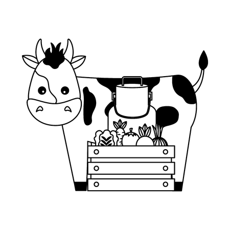 cow milk can and vegetables farm vector illustration Ilustrace