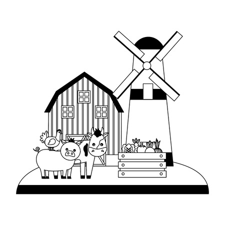 barn windmill cow pig hen and vegetables farm vector illustration
