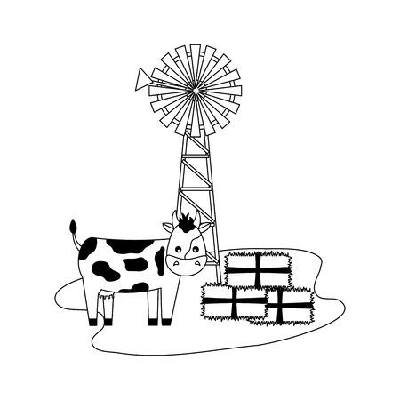 Moulin à vent vache balles de foin farm vector illustration