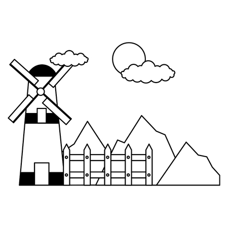 windmill fence mountains sky farm vector illustration Illustration