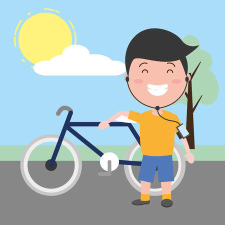 young man riding bike listening music tech device vector illustration Ilustracja