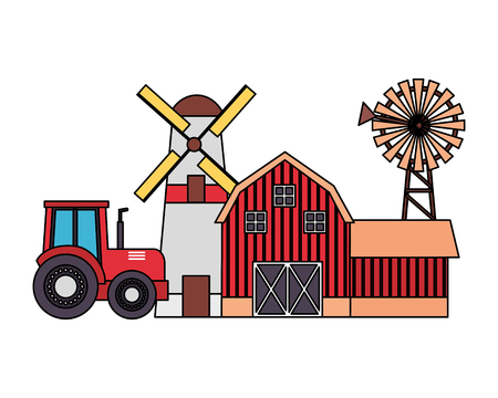 barn windmill house and tractor farm vector illustration