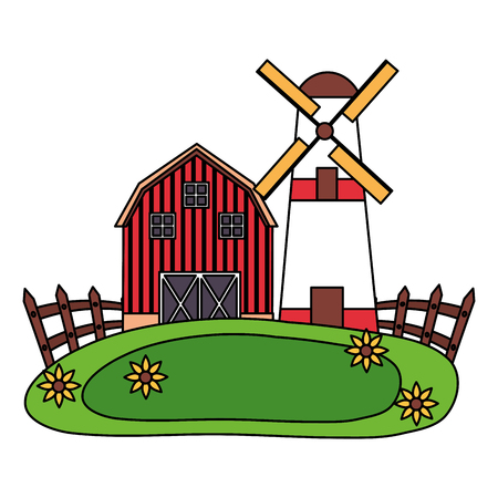 barn windmill house fence farm vector illustration 스톡 콘텐츠 - 124861052