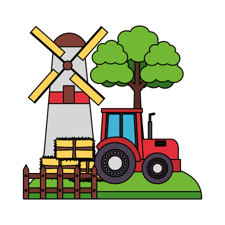 barn windmill tractor bales of hay tree vector illustration Фото со стока - 124861054