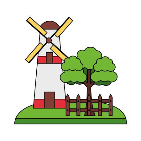 windmill tree and fence farm vector illustration