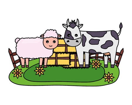 sheep and cow bales of hay farm vector illustration