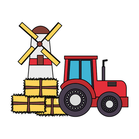 tractor windmill bales of hay farm vector illustration Illustration