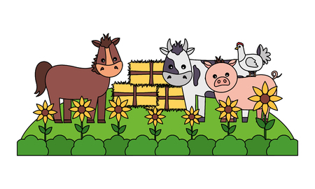 horse cow pig hen bales of hay garden farm vector illustration  イラスト・ベクター素材