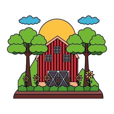 barn garden flowers trees farm vector illustration