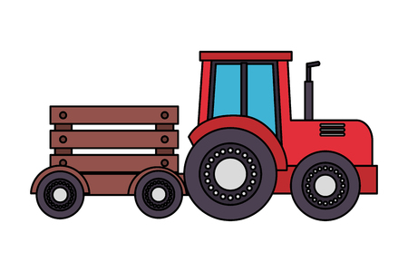 tractor with trailer transport farm vector illustration