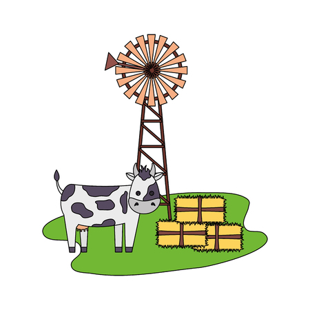 cow windmill bales of hay farm vector illustration Stock Illustratie