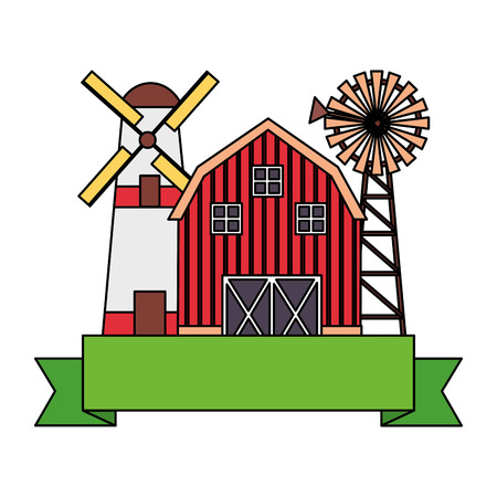 barn windmill storage farm emblem vector illustration