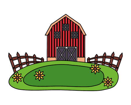 barn fence meadow flowers farm vector illustration vector illustration