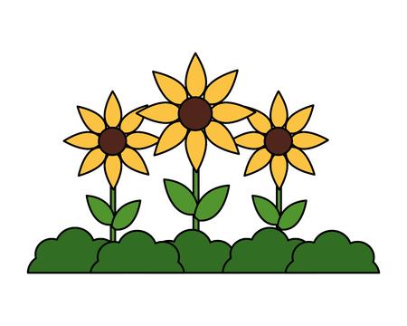 Garten Pflanzen Blumen Natur auf weißem Hintergrund Vektor-Illustration