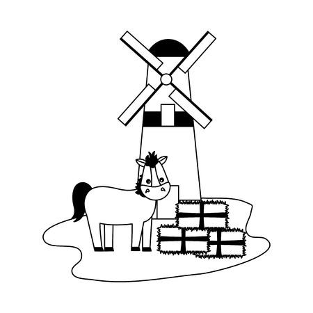 mulino a vento di cavalli e balle di illustrazione vettoriale fattoria di fieno Vettoriali
