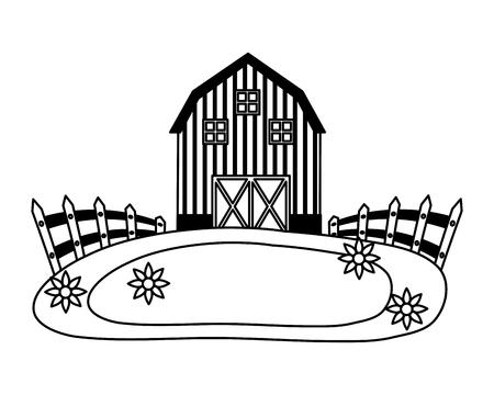 barn fence meadow flowers farm vector illustration vector illustration