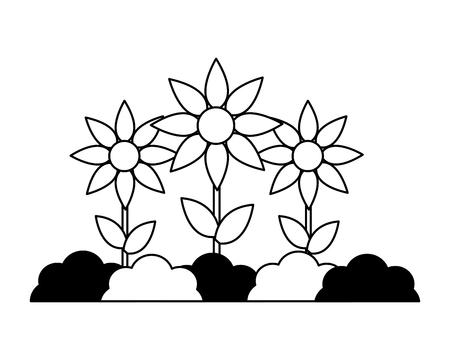 garden planting flowers nature on white background vector illustration Ilustrace