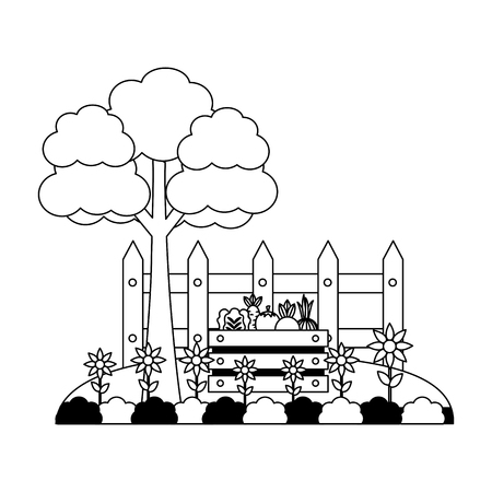 tree vegetables fence flowers farm vector illustration
