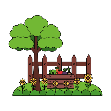 tree vegetables fence flowers farm vector illustration