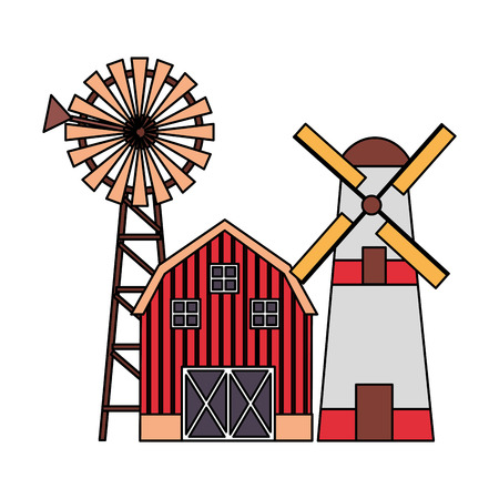 barn windmill house storage farm vector illustration