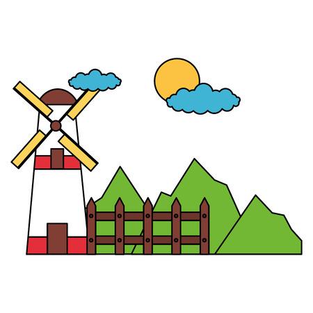windmill fence mountains sky farm vector illustration Illusztráció