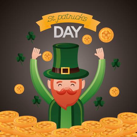 falling coins clovers leprechaun st patricks day vector illustration Foto de archivo - 117812380
