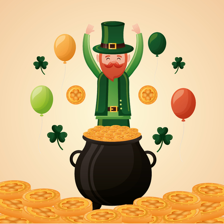 falling gold coins leprechaun happy st patricks day vector illustration