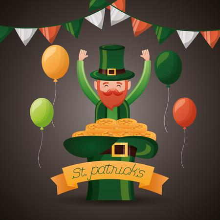 leprechaun with filled hat coins st patricks day vector illustration Foto de archivo - 124861099