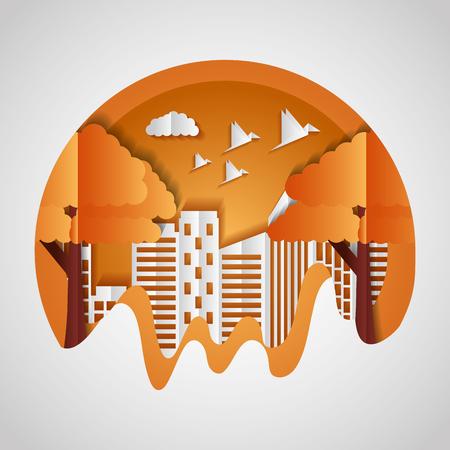 cut building tree birds paper origami cityscape vector illustration