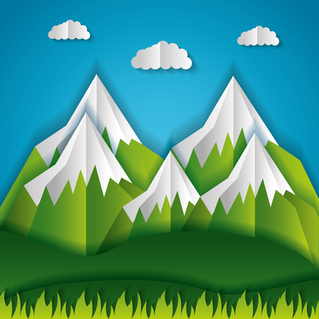 snowy mountains sky paper origami landscape vector illustration 일러스트