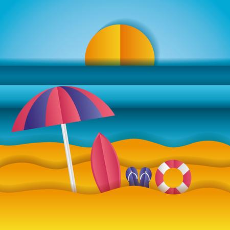 surfboard sandals umbrella sea paper origami landscape vector illustration