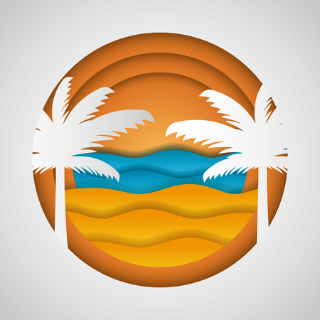 beach palms sea paper origami landscape vector illustration 向量圖像