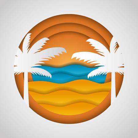 beach palms sea paper origami landscape vector illustration Illustration