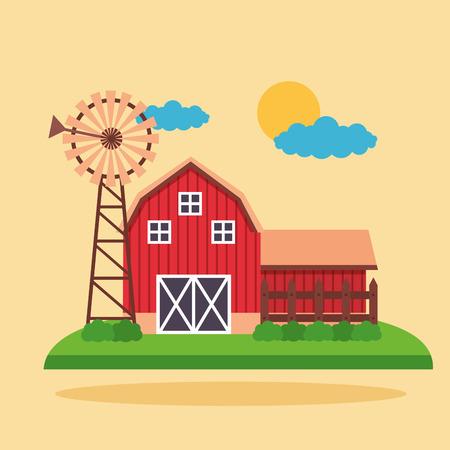 barn vegetables carrots and flowers farm fresh cartoon vector illustration