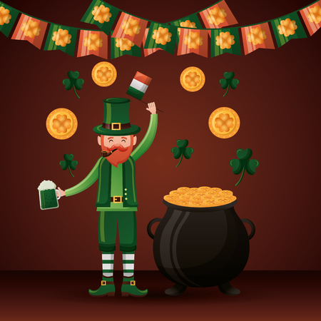 leprechaun with beer and cauldron happy st patricks day vector illustration Foto de archivo - 124861118