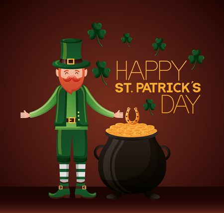leprechaun horseshoe cauldron coins clovers happy st patricks day vector illustration