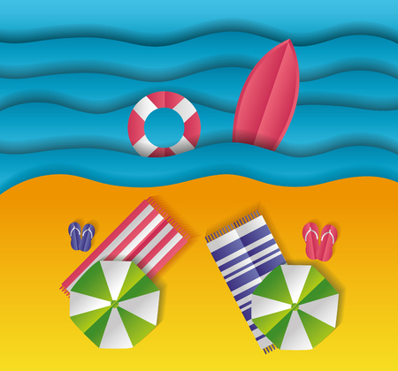 top view beach towels umbrella sea paper origami landscape vector illustration
