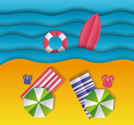 widok z góry ręczniki plażowe parasol morze papier origami krajobraz ilustracji wektorowych