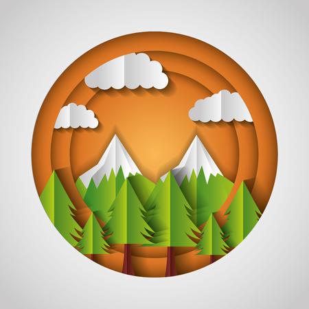 pine trees mountains paper origami landscape vector illustration Çizim