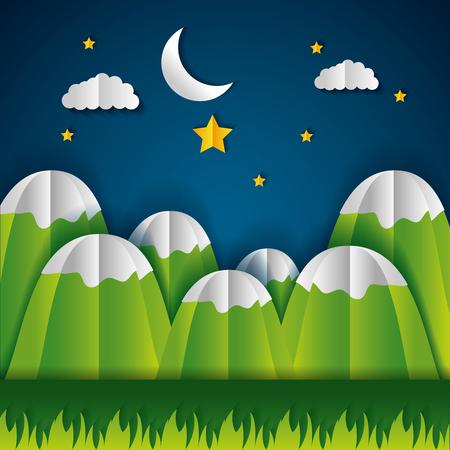 mountains night stars moon paper origami landscape vector illustration
