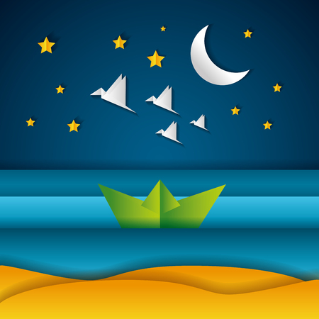 boat birds moon night paper origami landscape vector illustration