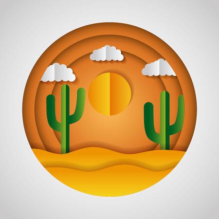 desert cactus sun clouds paper origami landscape vector illustration