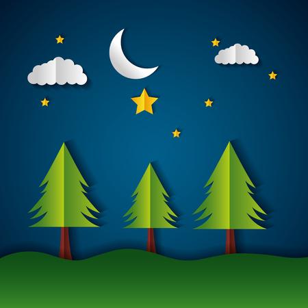 night mountains moon stars paper origami landscape vector illustration Illustration